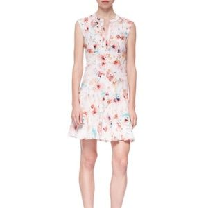 Rebecca Taylor Poppy-Print Swingy Silk Godet Dress